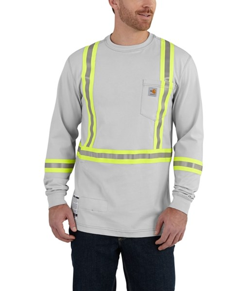 1e61ddcb Flame-Resistant Striped Force® Cotton Long-Sleeve T-Shirt by Carhartt. Item  # 101699. Men's Original Fit, Lightweight FR Cotton High-Vis ...