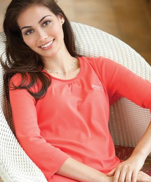 cad7c305f43 P54470 Ladies` 3 4-Sleeve Pima Scoop Neck with Shirring custom ...