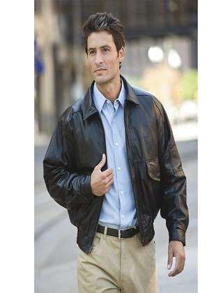 BB101 Men's Buffed Leather Bomber Full Zip Jacket custom
