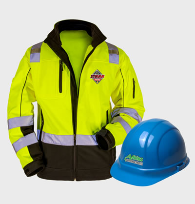 Shop Safety Embroiderd or Screen printed with your logo.