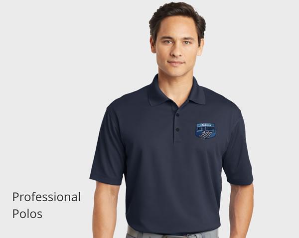Custom embroidered polo shirts.