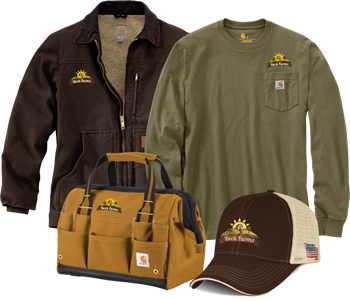 custom embroided and screen printed Carhartt Tees, Jackets, Hats and Bags