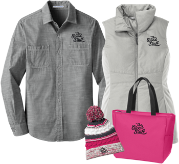 custom embroided and screen printed Tees, Jackets, Hats and Bags
